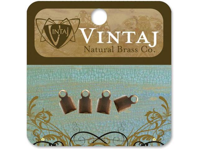 Vintaj Metal Crimp Ends 4/Pkg-9mm