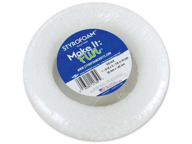 "Styrofoam Wreath 5-7/8""X1-3/16"" 1/Pkg-White"