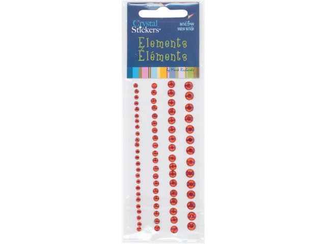 Crystal Stickers Elements 3mm To 6mm Assorted 76/Pkg-Round - Red