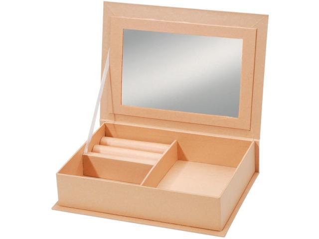 "Paper Mache Jewelry Box W/Mirror 7.5""X5.5"" Darice 2835-21"