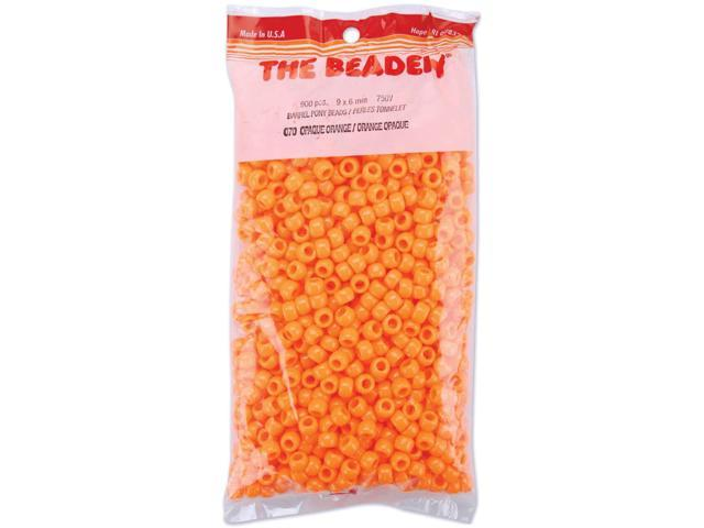 Pony Beads 6mmX9mm 900/Pkg-Opaque Orange