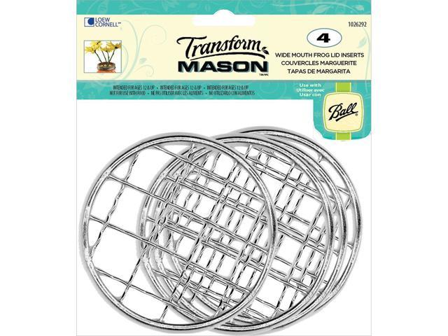 Transform Mason Ball Lid Inserts 4/Pkg-Silver Frog - Wide Mouth