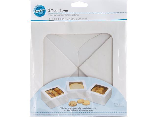 "Large Treat Box 8""X8""X4"" 3/Pkg-White"