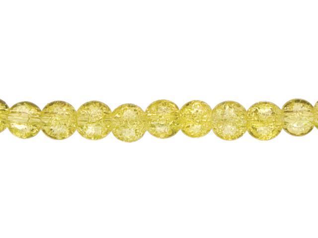 Jewelry Basics 6mm Round Beads 85/Pkg-Yellow Cracked Glass