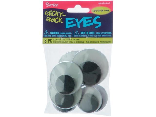 Sticky Back Wiggle Eyes Assorted 8/Pkg-Glow-In-The-Dark