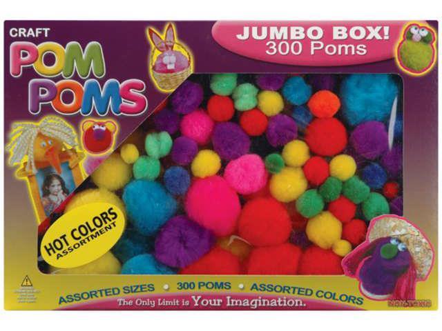 Pom-Poms Assorted 300/Pkg-Hot
