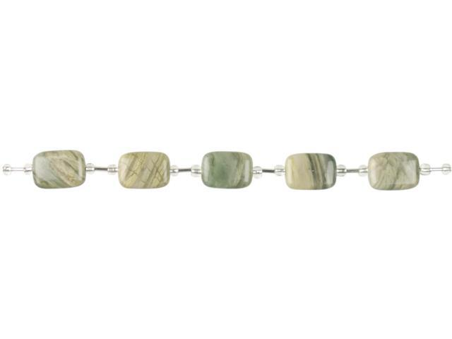Jewelry Basics Rectangle Beads 13mmx18mm 22/Pkg-Green Quartz