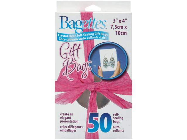 """Bagettes Self-Sealing Gift Bags 3""""X4"""" 50/Pkg-Clear"""