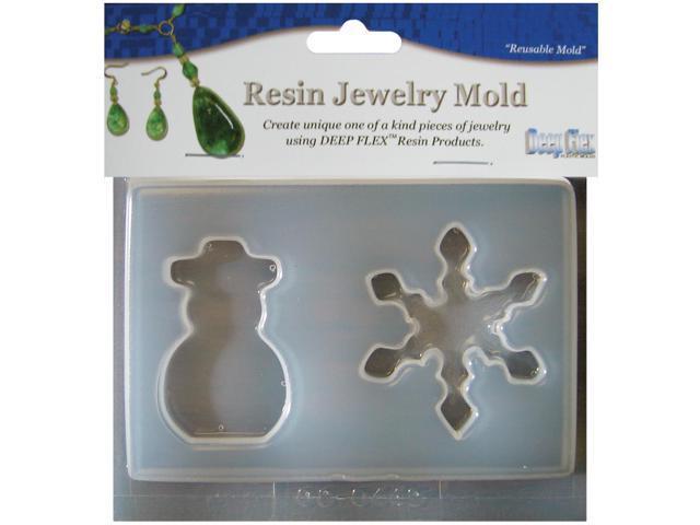 Resin Jewelry Mold 2 Cavity-Snowman/Snowflake