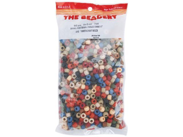 Pony Beads 6mmX9mm 900/Pkg-Americana Multicolor