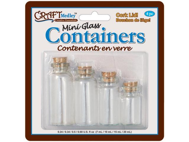 Mini Glass Containers W/Cork Lids 4/Pkg-7ml, 10ml, 15ml & 20ml