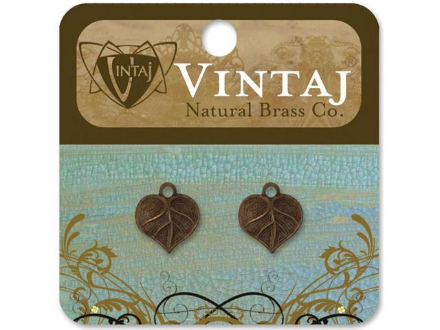 Vintaj Metal Accents 2/Pkg-Teensie Nouveau Leaf 13x12mm