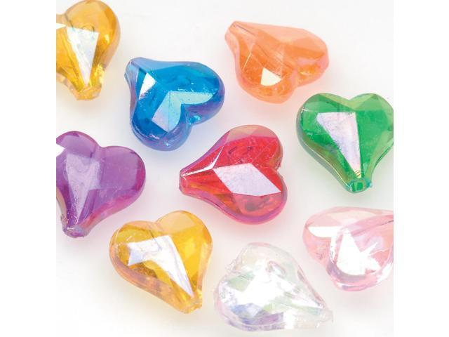 Faceted Heart Beads 144/Pkg-Assorted Colors