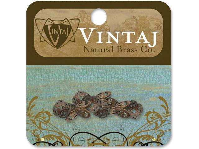 Vintaj Metal Bead Caps 10/Pkg-Filigree 7mm