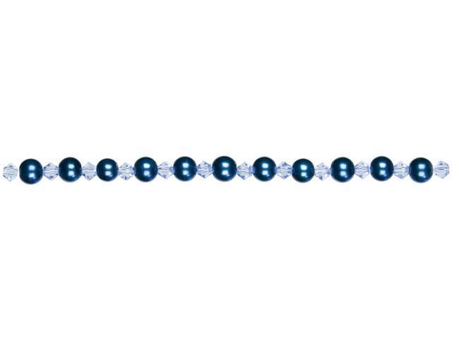 Jewelry Basics Pearl & Crystal Bead Mix 6mm 101/Pkg-Blue Round