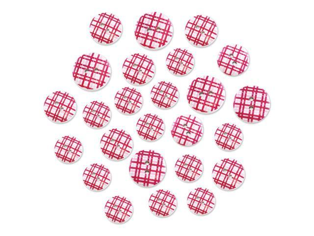 Patterned Wood Button Medley 25/Pkg-Pink Plaid
