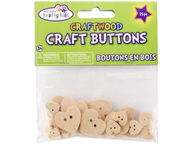 Craftwood Shaped Buttons 13mm To 27mm 25/Pkg-Hearts
