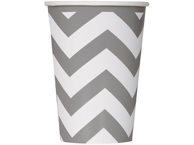 Paper Hot & Cold Cups 12oz 6/Pkg-Silver Chevron