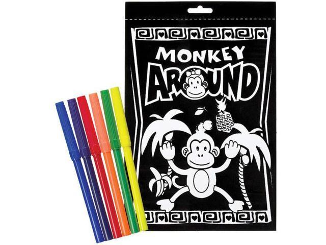 "Color-In Velvet Poster 6""X9""-Monkey Around"