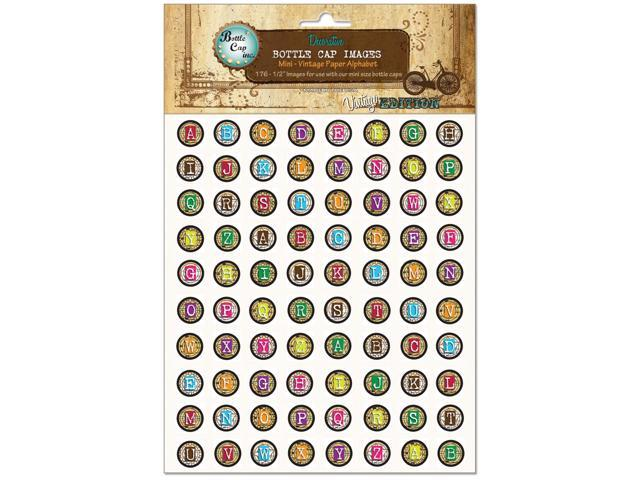"Vintage Collection Bottle Cap Images 1"" 65/Pkg-Mini Vintage Paper Alphabet"