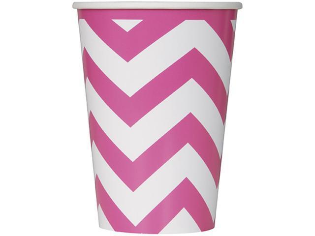 Paper Hot & Cold Cups 12oz 6/Pkg-Hot Pink Chevron