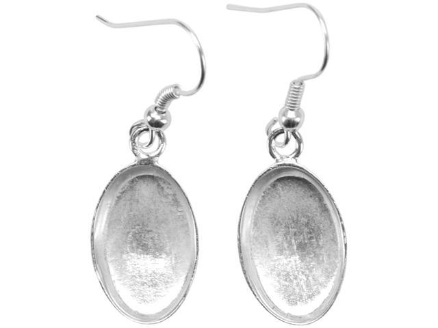 Base Elements Oval Dangle Earring Bases 1 Pair/Pkg-Silver Overlay 10.15x16mm