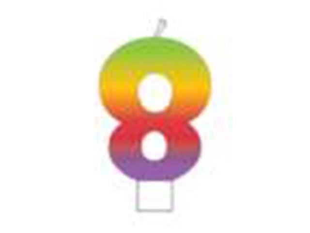 Rainbow Numeral Candle 3