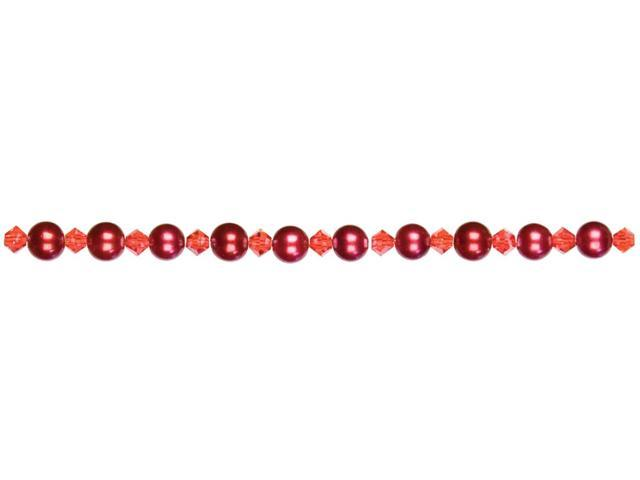 Jewelry Basics Pearl & Crystal Bead Mix 6mm 101/Pkg-Red Round