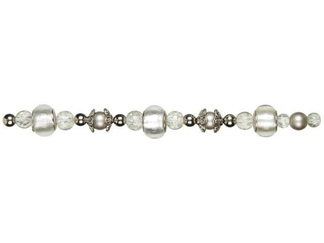 Jewelry Basics Large Hole Glass Bead Mix 35/Pkg-White