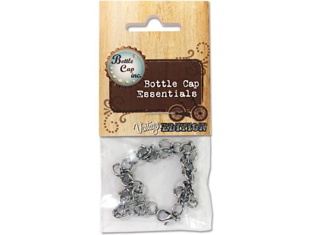 Vintage Collection Bottle Cap Charm Bracelet 1/Pkg-Antique Silver Curb