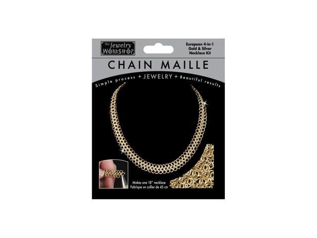 "Chain Maille Jewelry Kit-18"" European 4-in-1 Necklace-Gold & Silv"