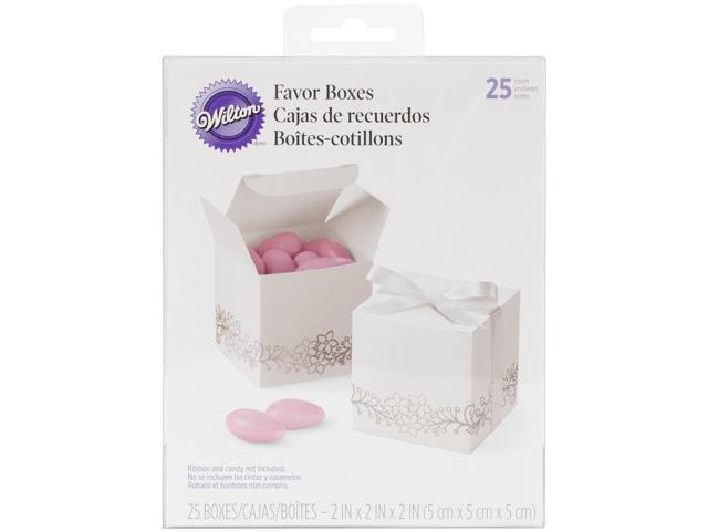 Square Box Favor Kit Makes 25-White W/Silver Foil