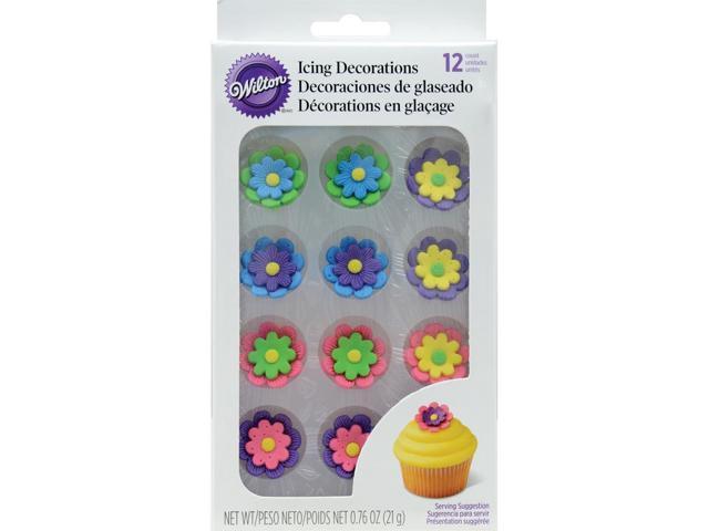 Royal Icing Decorations 12/Pkg-Multicolor Flowers