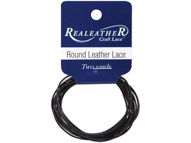 Round Leather Lace 1mmX2yd Packaged-Black
