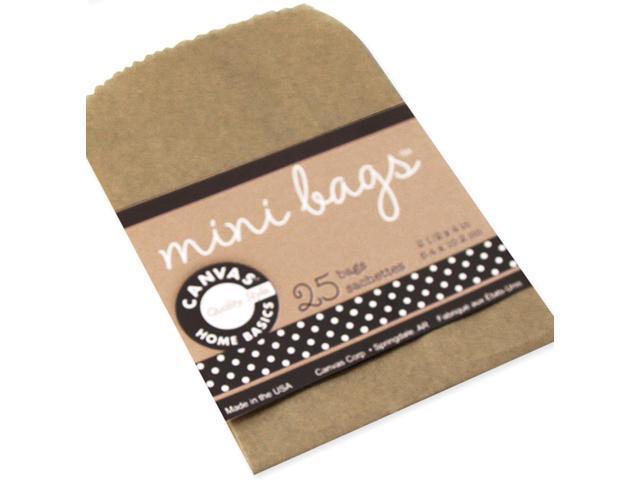 """Mini Gift Bags 2.5""""X4"""" 25/Pkg-Kraft"""