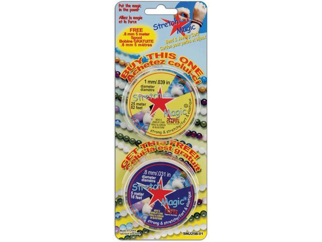 Pepperell 391376 Stretch Magic 2 Spools- 25meter-1mm & 5meter-.8mm