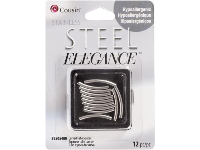 Stainless steel elegance beads findings curved tube