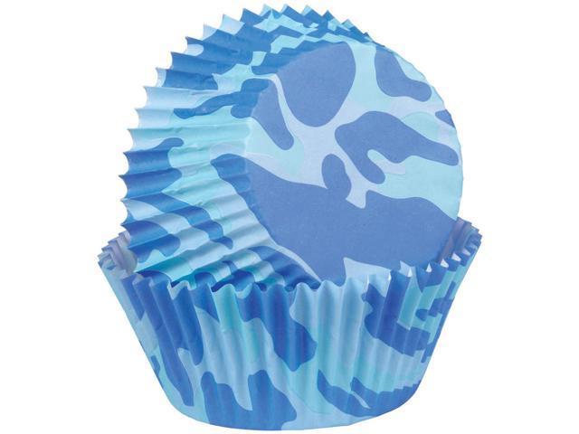 Baking Cups-Blue Camo 75/Pkg-Standard
