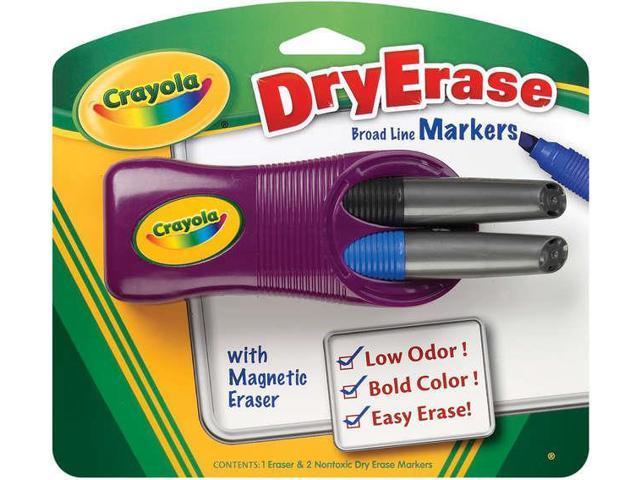 Dry-Erase Broad Line Markers & Magnetic Eraser: Black/Blue