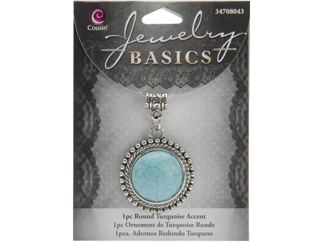 Jewelry Basics Metal Accent 1/Pkg-Turquoise Round