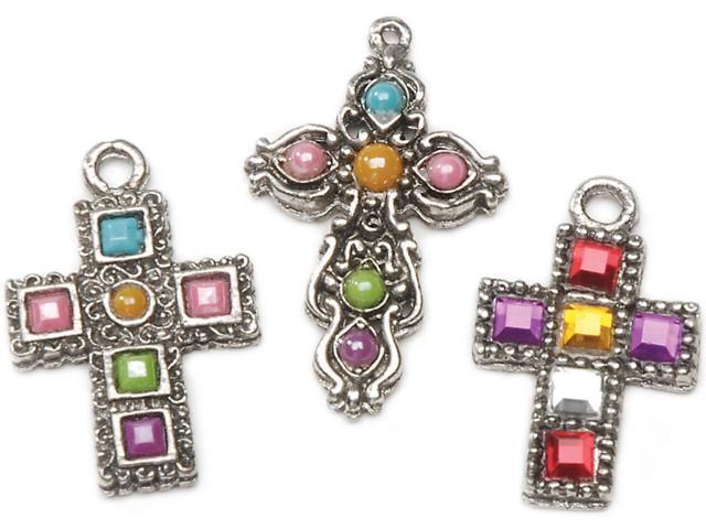 Charms 3/Pkg-Antique Silver Rhinestone Crosses