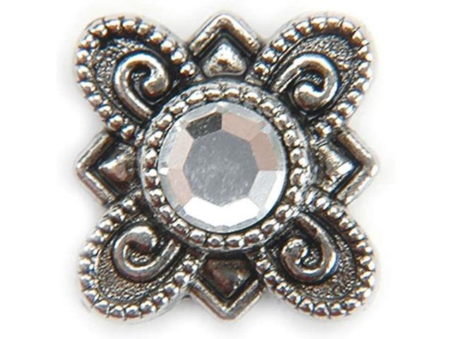 Metal Slider Beads W/Swarovski Crystals 10/Pkg-Flower