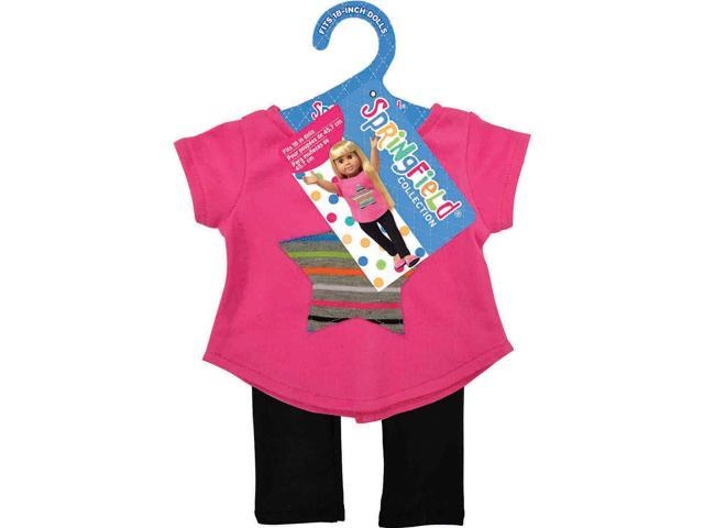 Springfield Collection Star Top & Leggings-Pink & Black