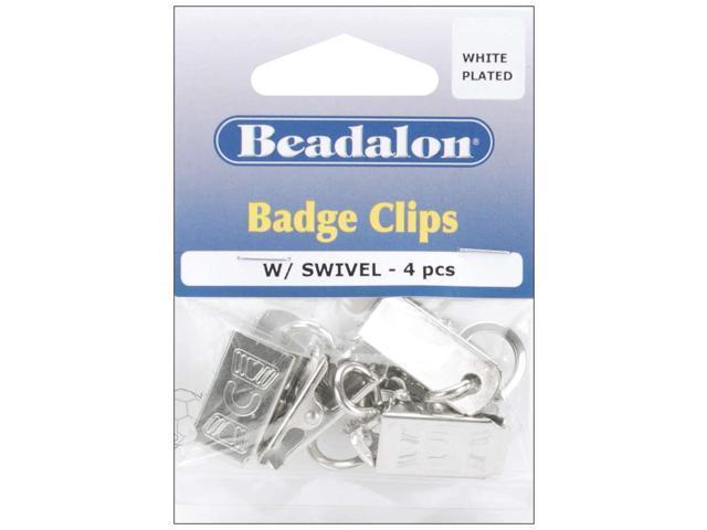 Badge Clips W/Swivel 4/Pkg-White-Plated