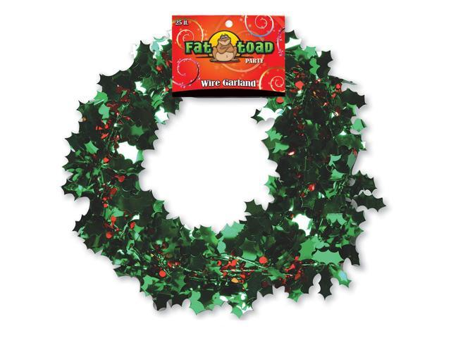 Fat Toad Wire Garland 25'-Holly Leaves