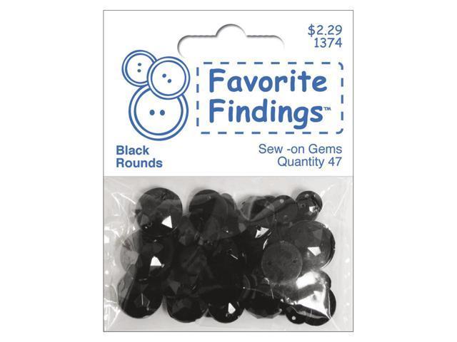 Favorite Findings Sew-On Round Gems-Black 47/Pkg