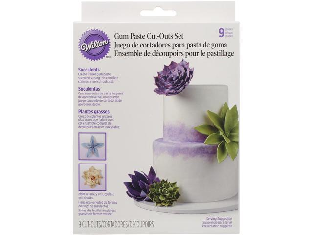 Gum Paste Cutouts 9/Pkg-Succulents