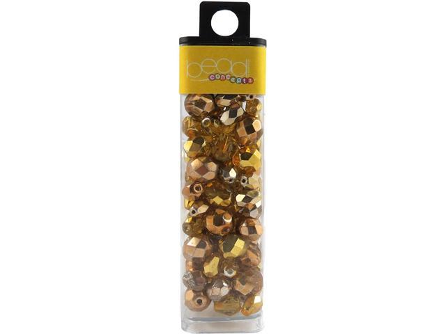 Square Tube Glass Beads 2oz-Mirror Yellow Mix