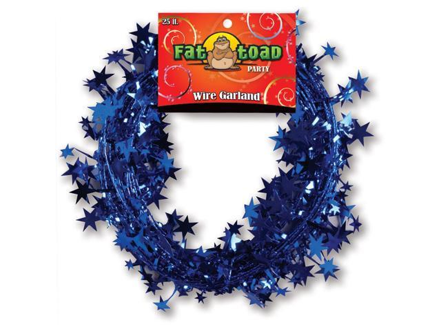 Fat Toad Wire Garland 25'-Blue Stars