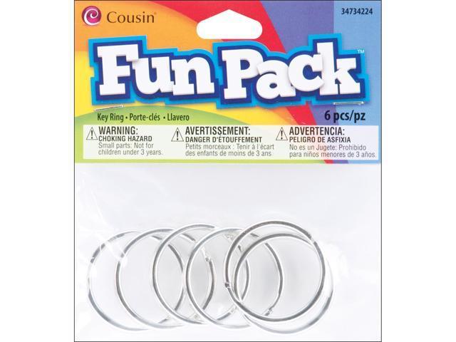 Fun Pack Key Rings 6/Pkg-Silver